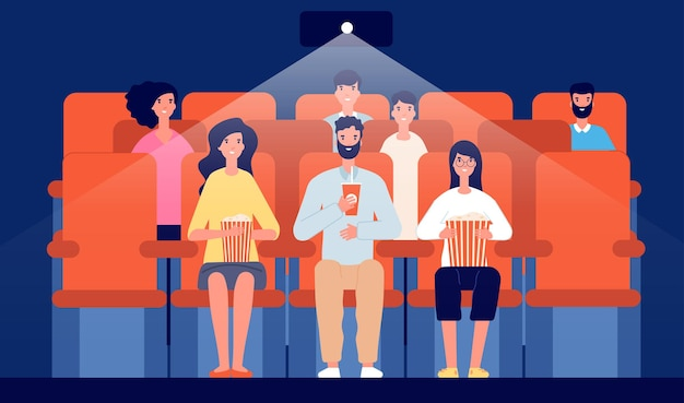 Family in cinema. cartoon movie theater, people watching film eat and drink. audience crowd, entertainment hall interior vector illustration. family in movie, watching cinema