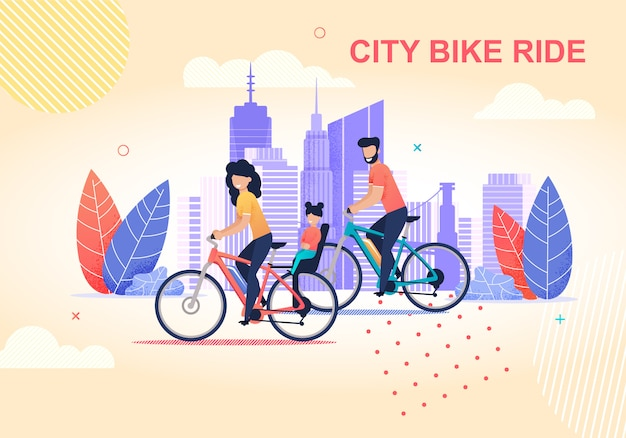 Family city bike ride flat cartoon illustration