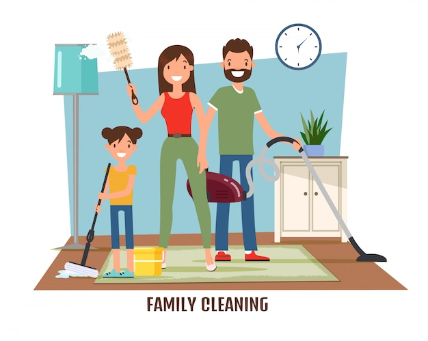 Family cleaning, doing household chores