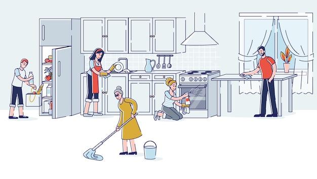 家族で一緒にキッチンを掃除する両親の祖母と子供たちが家事をしている