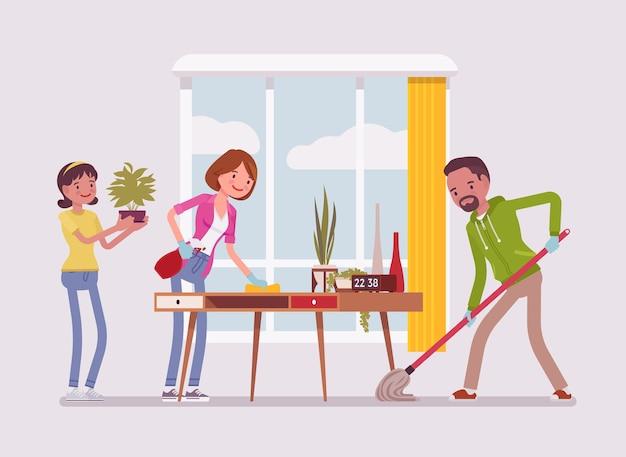 Семья убирает дом