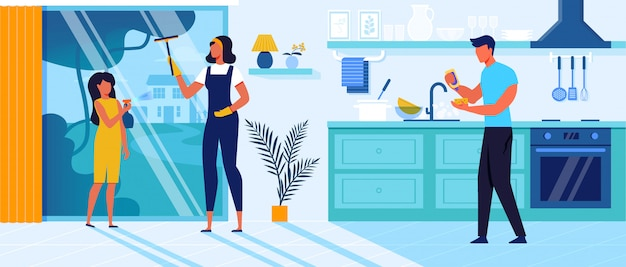 Family cleaning up home   illustration