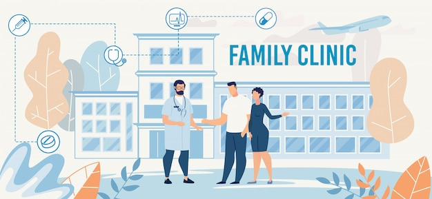 Family clinic presentation with doctor meet couple