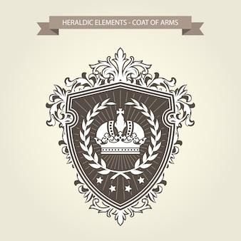 家族の紋章-王冠と月桂樹の花輪の紋章入りの盾