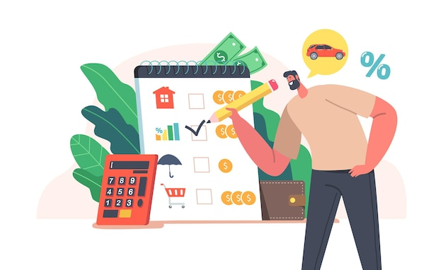 Family collect money, budget planning or savings, income counting concept. happy male character fill form with purchases