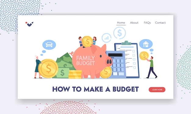 Family collect money for budget savings landing page template. mother, father and little children characters stand at huge piggy bank and calculator with gold coins. cartoon people vector illustration