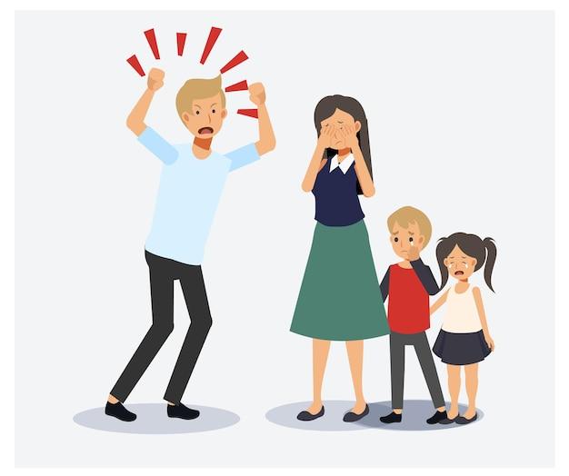 가족 갈등. 화나고 불행한 사람들. 남편과 아내 사이의 폭력. 꾸짖는 학대, 겁먹은 아이들. 평면 벡터 2d 만화 캐릭터 그림입니다.