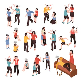 Family conflicts set with shouting and crying isometric isolated vector illustration