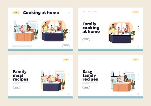 親と子供が一緒に食事を準備することで設定されたランディングページの家庭での家族料理の概念