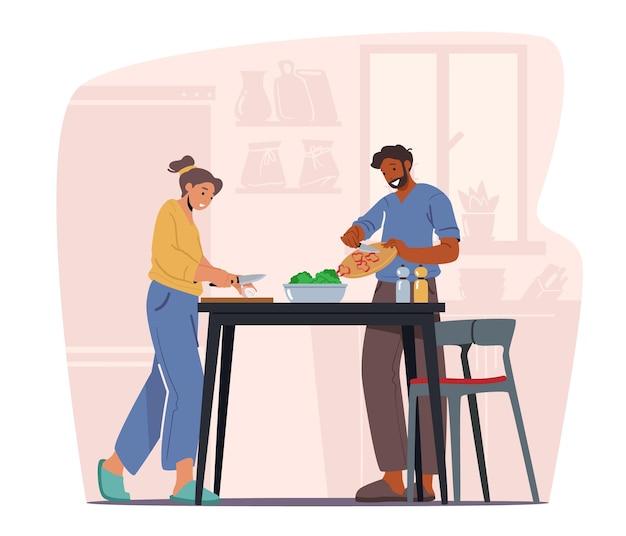 家庭での家庭料理、男性と女性はテーブルの上に新鮮な製品で夕食を準備します。若いカップルのキャラクターが一緒に料理します。毎日のルーチン、愛、人間関係。漫画の人々のベクトル図