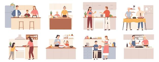 집에서 가족 요리. 저녁 식사를 위해 음식을 준비하는 부모, 조부모, 아이들은 쿠키와 케이크를 굽습니다. 엄마와 아이 부엌 벡터 세트에서. 그림 가족 가정 요리 함께