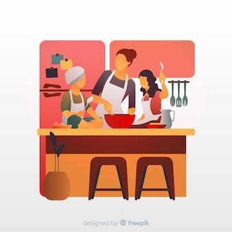 家族は台所で料理をする