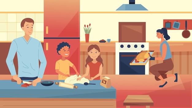 가족 요리 개념 행복한 가족은 부엌에서 함께 식사를 요리한다