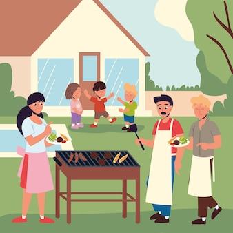 Семья, готовящая мясо на гриле