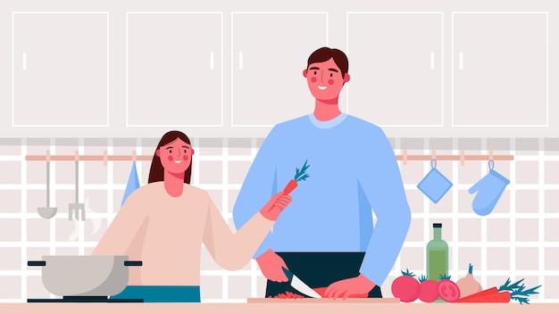 フラットなデザインのキッチンで調理している家族