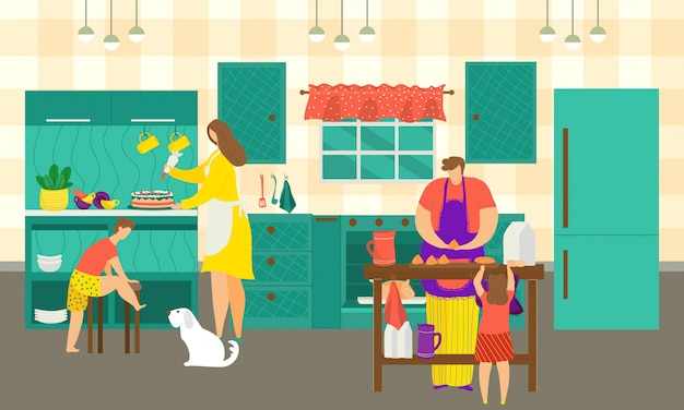 Family cooking in kitchen at home,  illustration. people man woman character make  food and meal for girl boy together. happy daughter, son, kid and dad cook dinner at house table.