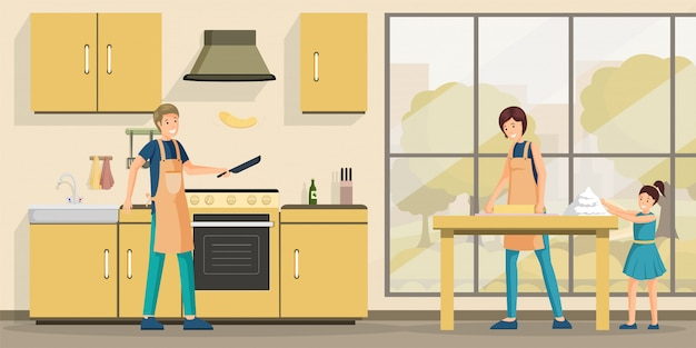 Family cooking lunch flat  illustration.
