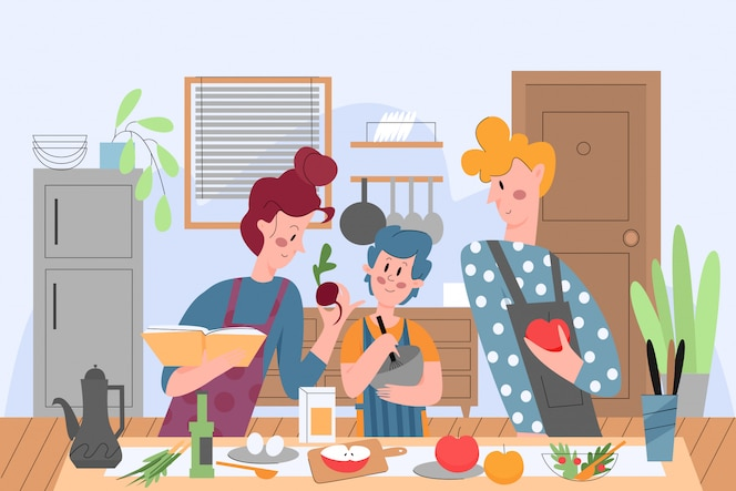 Family cooking, people in kitchen illustrationfamily cooking