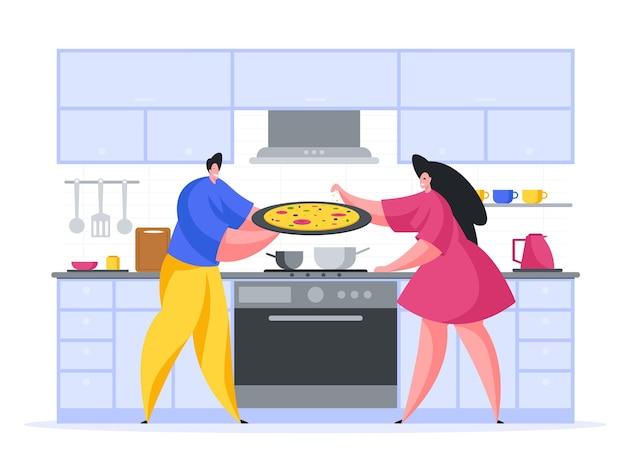 家庭でピザを調理する家族漫画イラスト