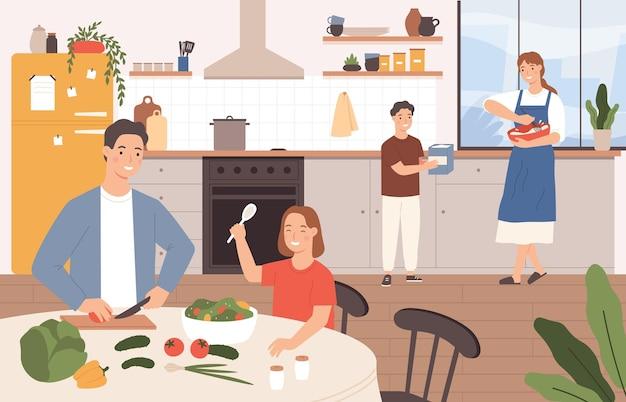 함께 요리하는 가족. 행복한 부모와 아이들이 부엌에서 굽고 있습니다. 아들은 어머니의 요리를 돕습니다. 음식 벡터 개념을 준비하는 아이들이 있는 가족. 아버지 절단 샐러드, 테이블에 딸
