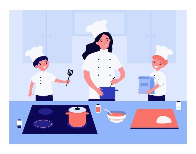 요리사 유니폼에 함께 요리하는 가족