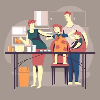 부엌에서 함께 요리하는 가족
