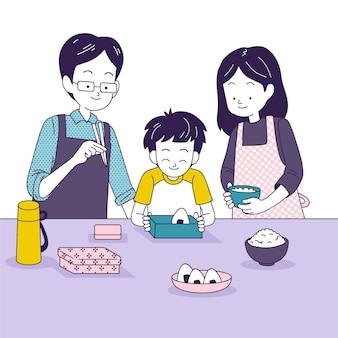 家族が一緒に台所で料理