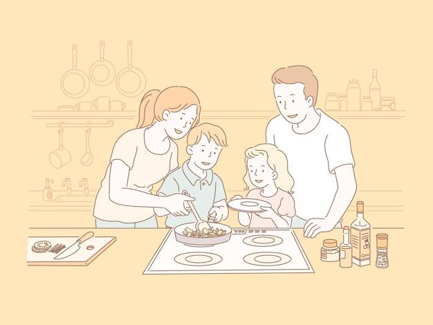 ラインスタイルのイラストでキッチンで一緒に料理をする家族