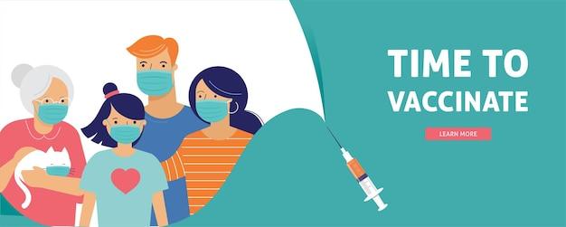 가족 코로나 바이러스, covid 예방 접종 컨셉 디자인. 백신 접종 시간 배너-covid-19 백신 주사기