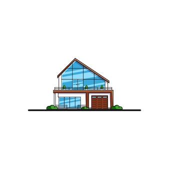 ファミリーコテージハウス。不動産、建設業界のコンセプト。フラットスタイルのイラスト