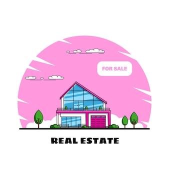 나무, 부동산, 건설 산업이있는 가족 별장 집