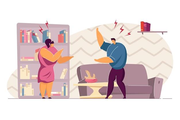 Семейная пара спорит в гостиной. плоские векторные иллюстрации. сердитые жена и муж конфликтуют, проблемы в отношениях. жестокое обращение, развод, семья, концепция ссоры для дизайна баннера, целевая страница
