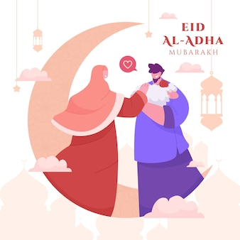 Family couple celebrating eid al adha mubarak background with sheep and crescent moon for greeting card