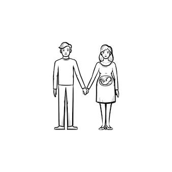 아기 손으로 그린 개요 낙서 아이콘을 기대하는 가족 커플. 사랑 하는 남편과 임신한 아내 벡터 스케치 그림 인쇄, 웹, 모바일 및 흰색 배경에 고립 된 infographics입니다.