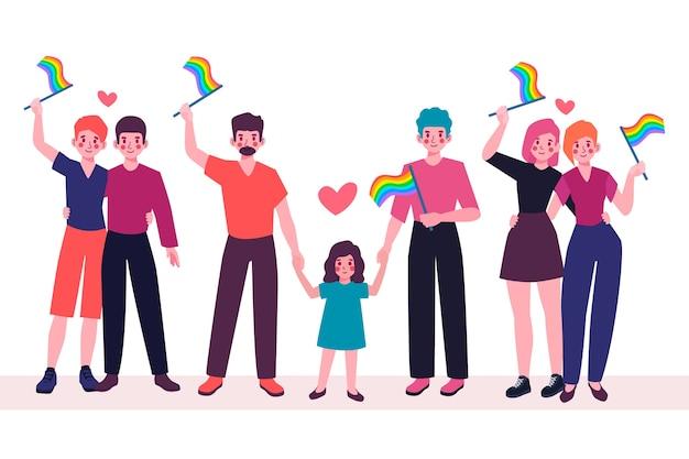 Famiglia e coppia il giorno dell'orgoglio che celebra concetto