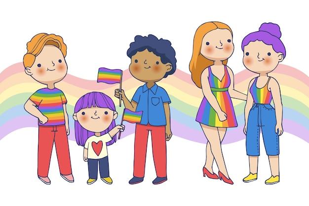 Famiglia e coppia sul concetto di giorno di orgoglio