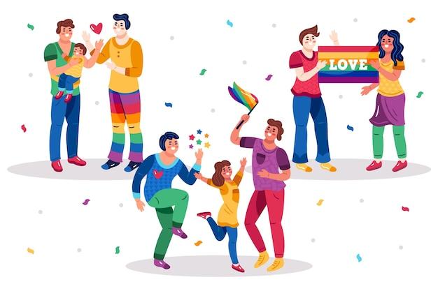 Famiglia e coppie sull'illustrazione di giorno di orgoglio insieme