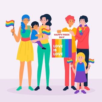 Famiglia e coppia il giorno dell'orgoglio