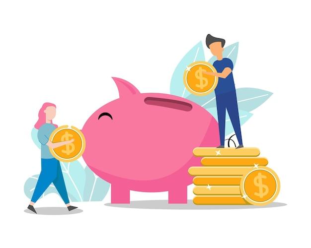 家族のカップルのお金を節約する概念図