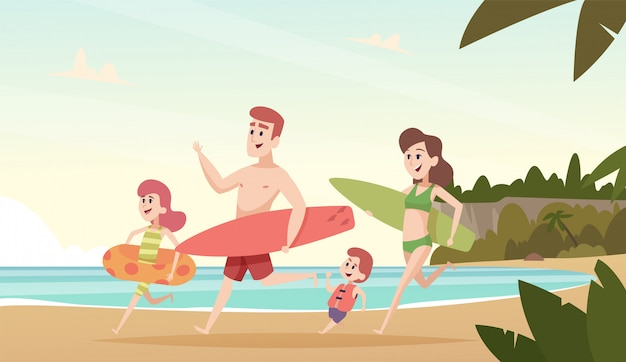 Family couple travellers. happy kids with parents smiling people on tropical beach sea or ocean summer vacation vector background