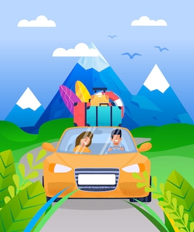 Family couple on vacation car road trip cartoon