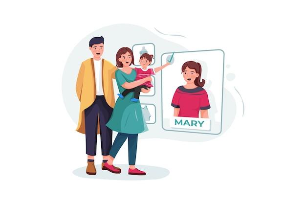 Семейная пара с ребенком, выбирая няню онлайн.