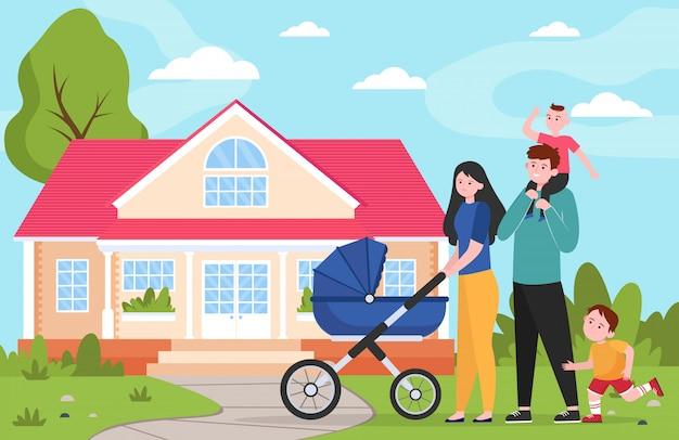Семейная пара с детьми и коляской идет к загородному дому