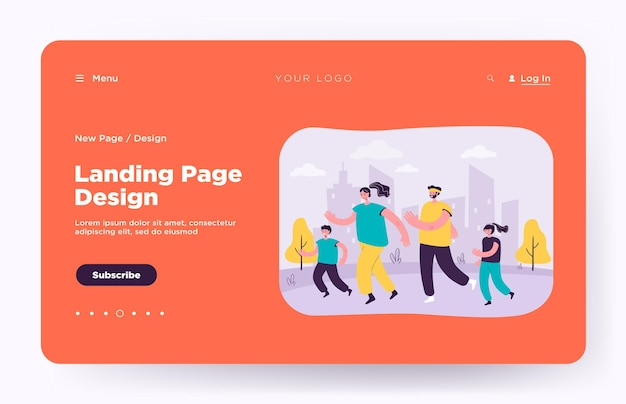 Family couple with kids jogging in city park landing page