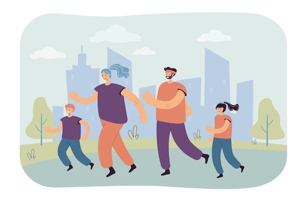 도시 공원에서 조깅하는 아이들과 가족 커플. 마라톤을위한 부모와 자녀 훈련. 만화 그림