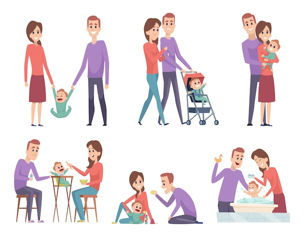 Family couples. love mother and father playing with their little kids happy mom dad parents vector illustrations