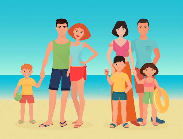Family couples with kids on the sea beach