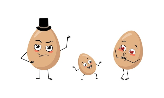 Family of cute egg characters with joyful emotions smile face happy eyes arms and legs mom is happy ...