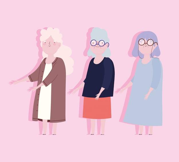 Family cute group grandmothers member cartoon character