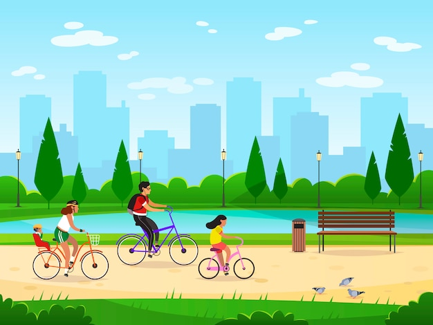 Family cycling. active family vacation riding bikes lifestyle sport park leisure activities happy group, cartoon image
